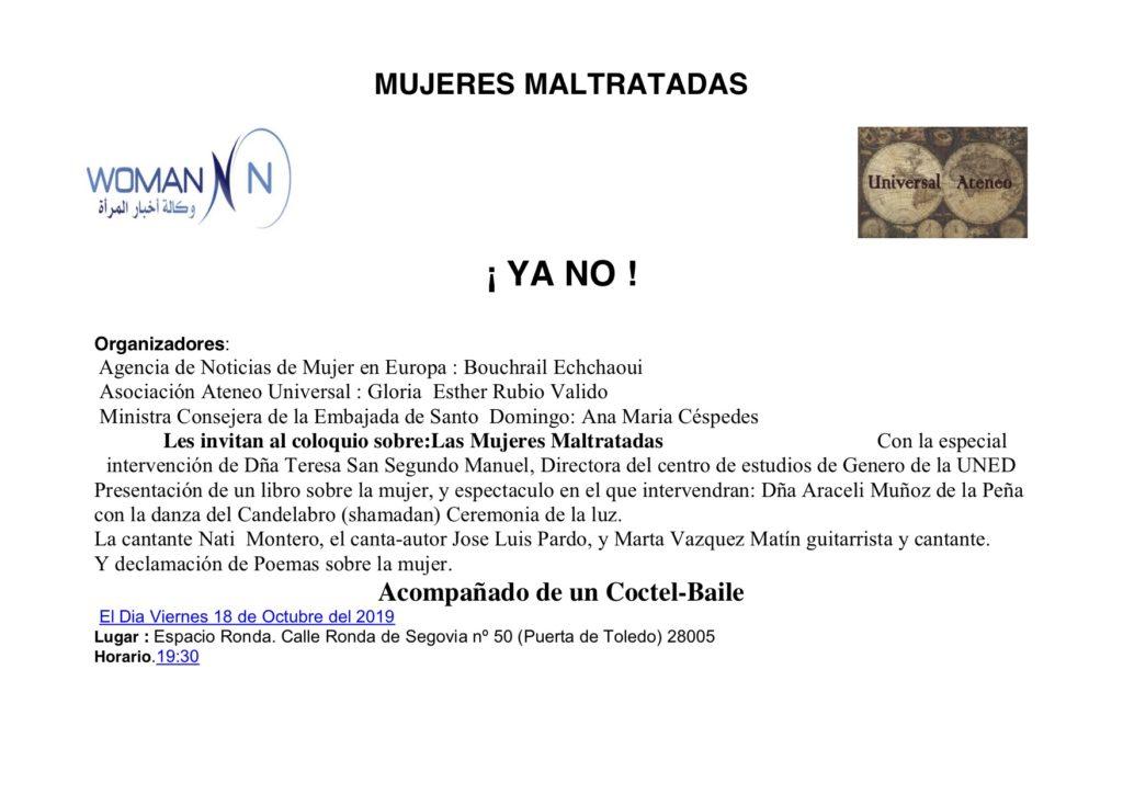 """Coloquio sobre """"Las Mujeres Maltratadas"""""""