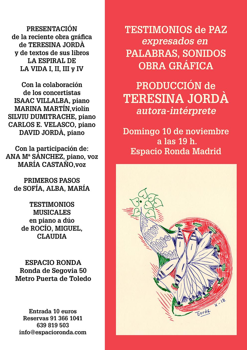 TESTIMONIO DE PAZ expresados en PALABRAS, SONIDOS, OBRA GRÁFICA