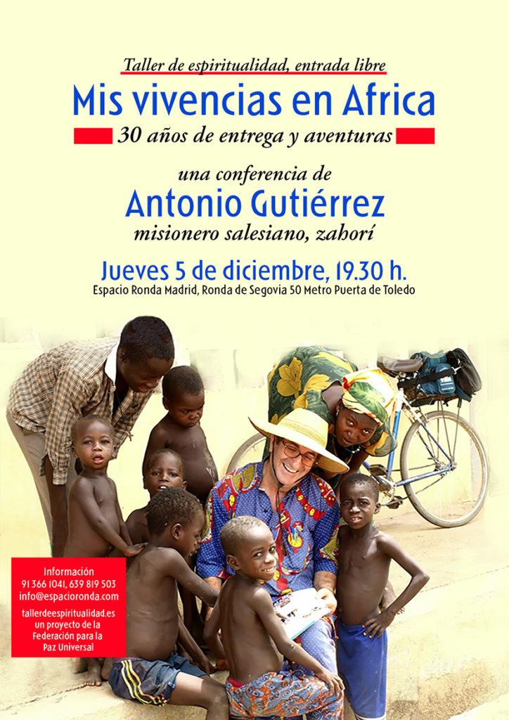 """Taller de espiritualidad """"Mis vivencias en África, 30 años de entrega y aventuras"""" con Antonio Gutiérrez"""