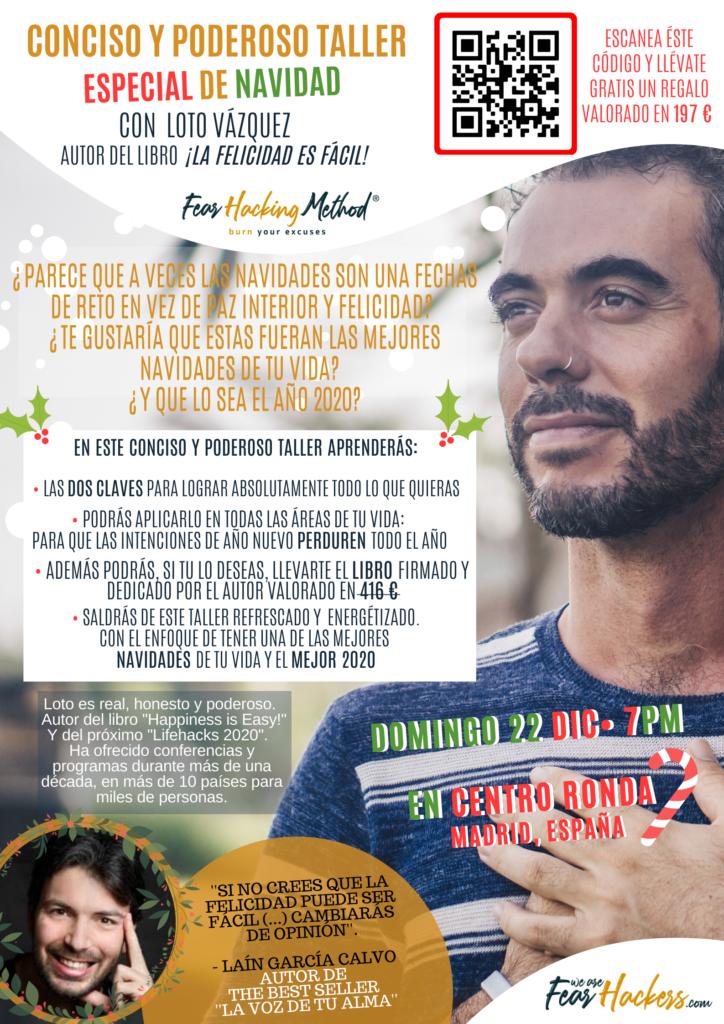 """Conciso y Poderoso Taller Especial de Navidad con Loto Vázquez, autor del libro """"La Felicidad es fácil"""""""